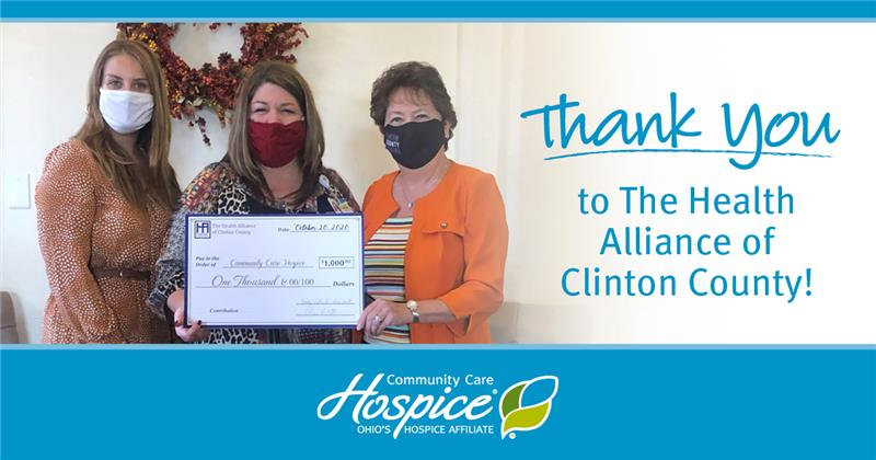 The Health Alliance Of Clinton County Donates $1,000 To Community Care Hospice For Patient Care