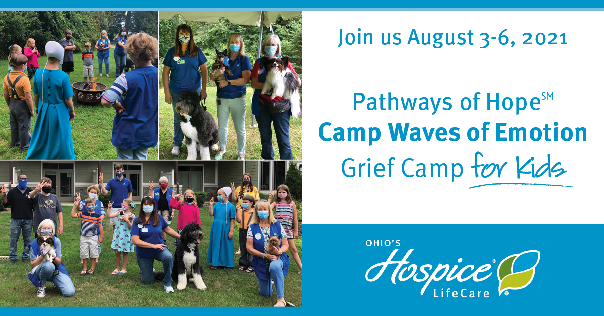 Join Us August 3-6, 2021 - Pathways Of Hope Camp Waves Of Emotion: Grief Camp For Kids - Ohio's Hospice LifeCare